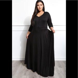 Dresses & Skirts - Plus Size Black Maxi Dress Sweep The Floor
